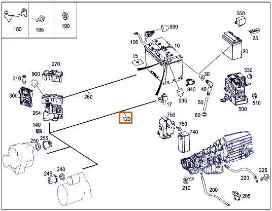 X204.984 - A204 440 28 13 - ELEKTRISCHER LEITUNGSSATZ - STARTER ZU BATTERIE - BILD 1.JPG